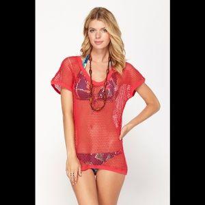 NWT Roxy hooded mesh swim cover up dress